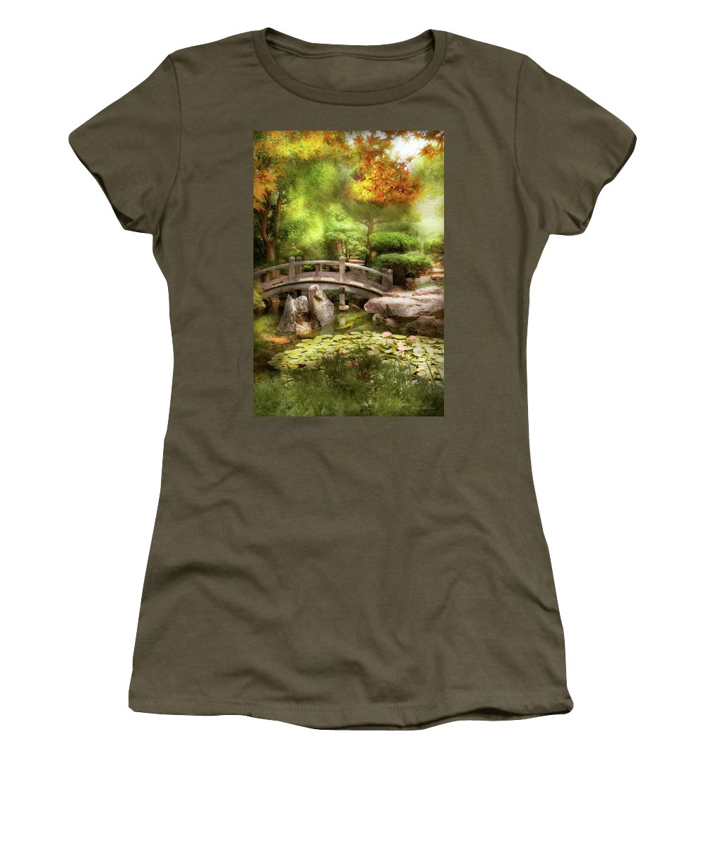 Japanese Garden Women's T-Shirt featuring the photograph Landscape - Simply Paradise by Mike Savad