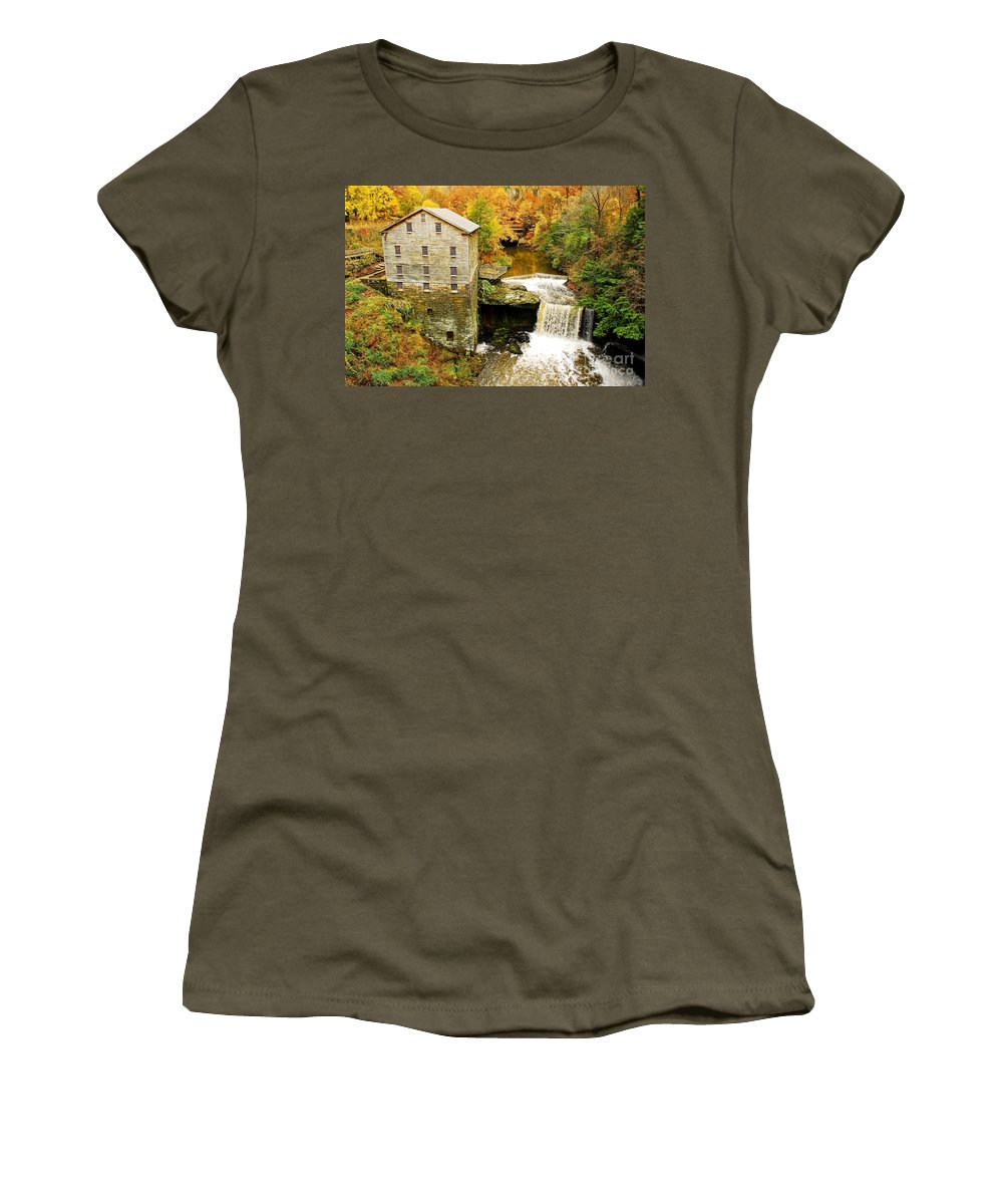 Lantermans Mill Women's T-Shirt (Athletic Fit) featuring the photograph Lantermans Mill In Fall by Tony Bazidlo