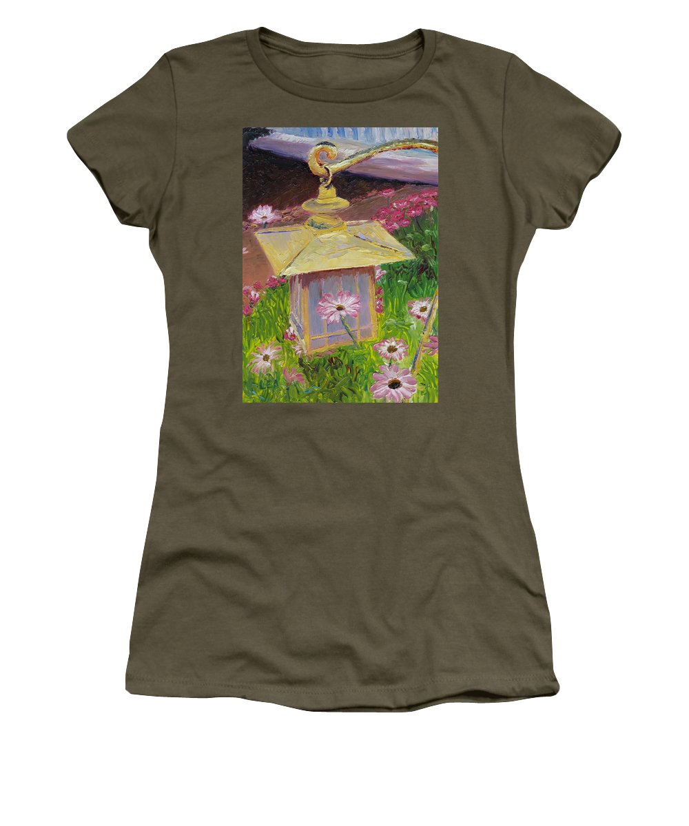 Flower Women's T-Shirt featuring the painting Lantern And Friends by Lea Novak