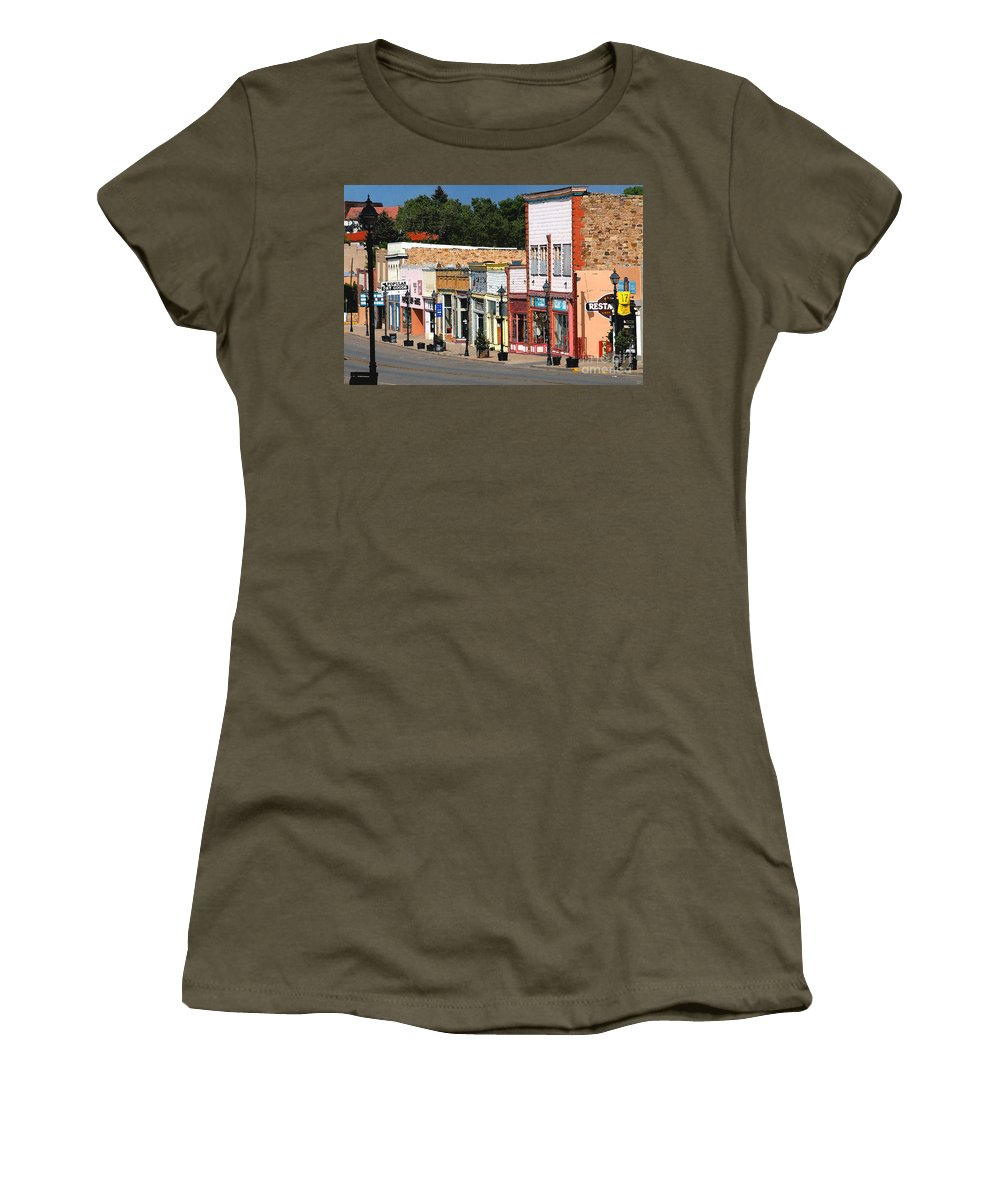 Las Vegas New Mexico Women's T-Shirt (Athletic Fit) featuring the painting Las Vegas New Mexico by David Lee Thompson