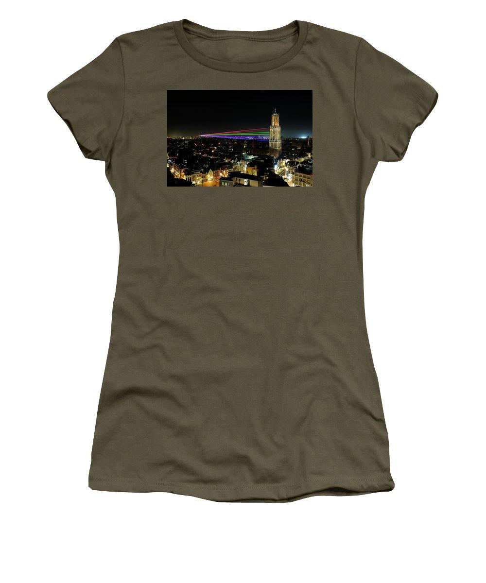 Donker Utrecht Women's T-Shirt (Athletic Fit) featuring the photograph Laser Beams On The Dom Tower In Utrecht 23 by Merijn Van der Vliet