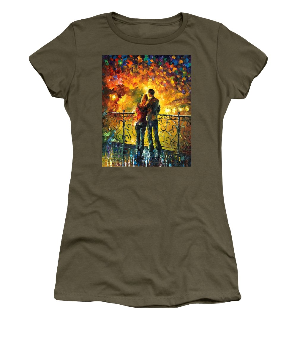 Afremov Women's T-Shirt featuring the painting Last Date by Leonid Afremov