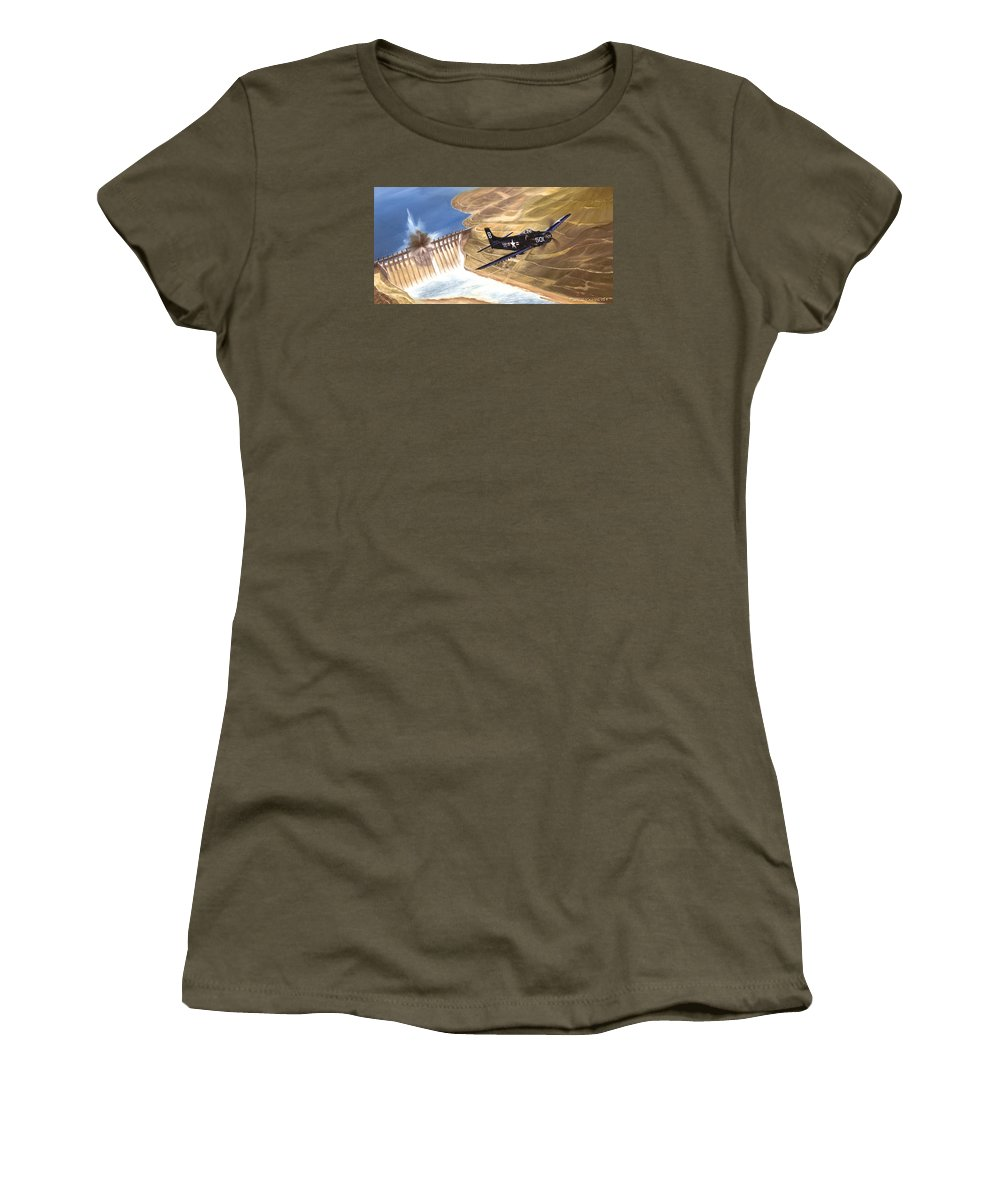 Military Women's T-Shirt (Athletic Fit) featuring the painting Last Of The Dambusters by Marc Stewart