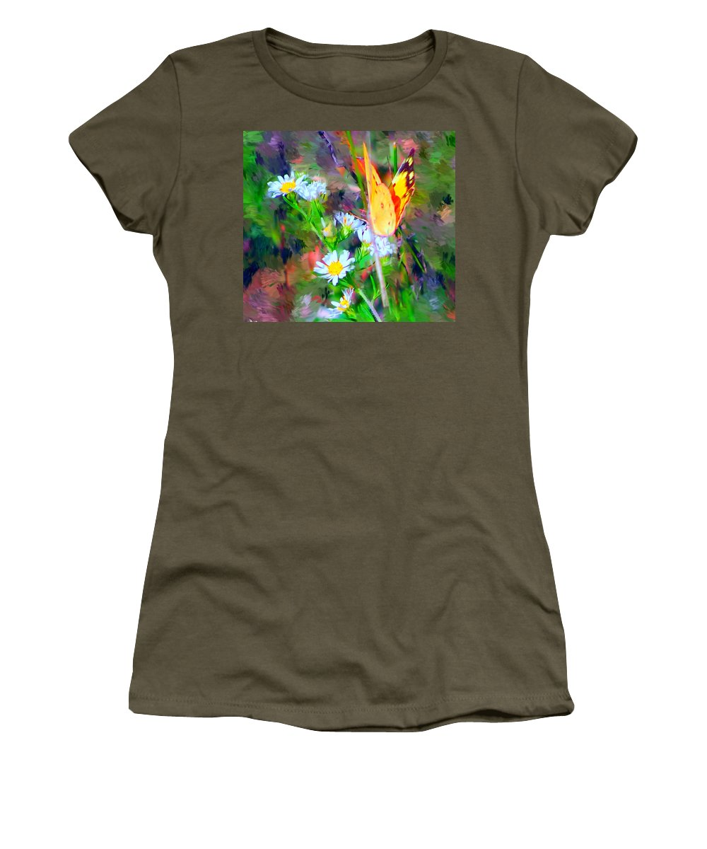 Landscape Women's T-Shirt (Athletic Fit) featuring the painting Last Of The Season by David Lane