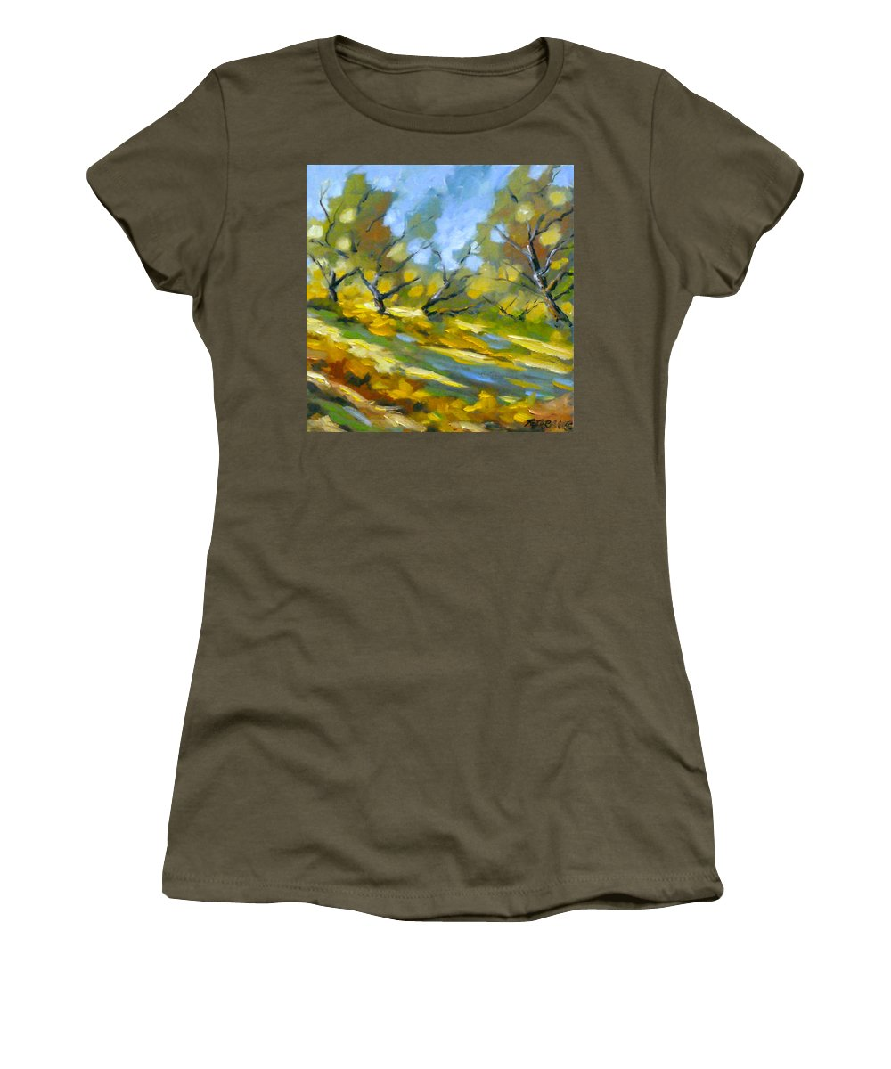 Original Painting; Oil; Landscape; Birches; Trees; Nature; Richard T Pranke; Lake Women's T-Shirt featuring the painting Late Afternoon by Richard T Pranke