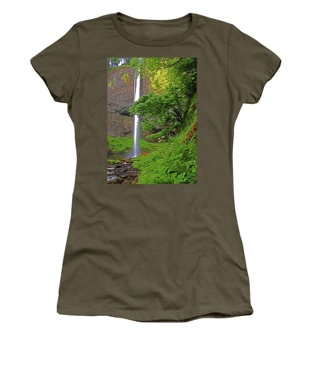 Oregon Women's T-Shirt featuring the photograph Latourell Falls Oregon by Rich Walter