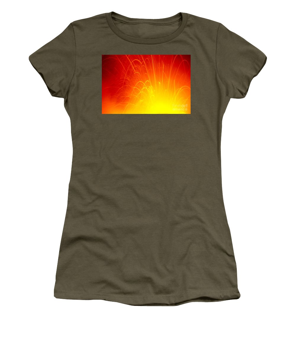 A'a Women's T-Shirt (Athletic Fit) featuring the photograph Lava Explodes Into Ocean by Peter French - Printscapes