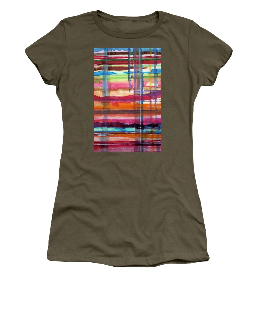 Abstract Women's T-Shirt featuring the painting Layered by Suzanne Udell Levinger