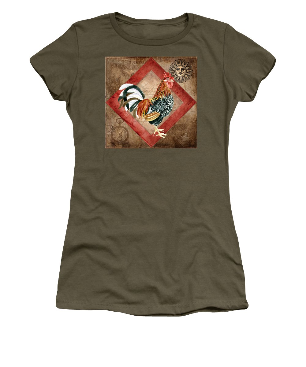 Le Coq Women's T-Shirt featuring the painting Le Coq - Greet The Day by Audrey Jeanne Roberts