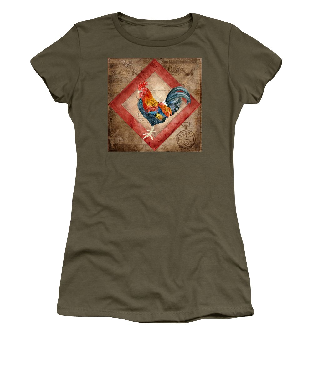 Le Coq Women's T-Shirt featuring the painting Le Coq - Timeless Rooster by Audrey Jeanne Roberts