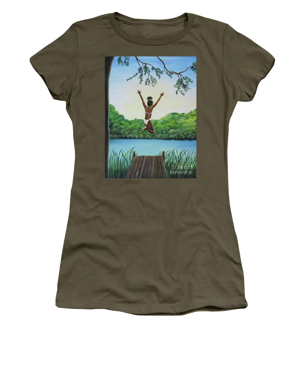 Summer Vacation Women's T-Shirt (Athletic Fit) featuring the painting Leap Of Faith by Kris Crollard