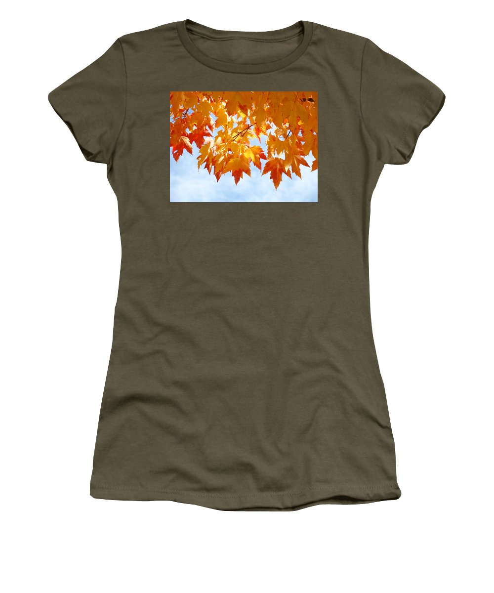 Autumn Women's T-Shirt featuring the photograph Leaves Nature Art Orange Autumn Tree Leaves by Baslee Troutman
