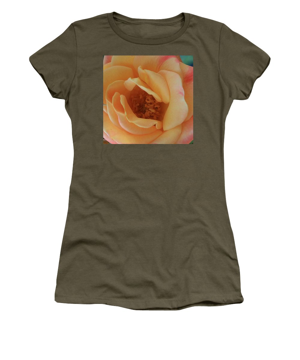 Lemon Women's T-Shirt (Athletic Fit) featuring the photograph Lemon Blush Rose by Marna Edwards Flavell