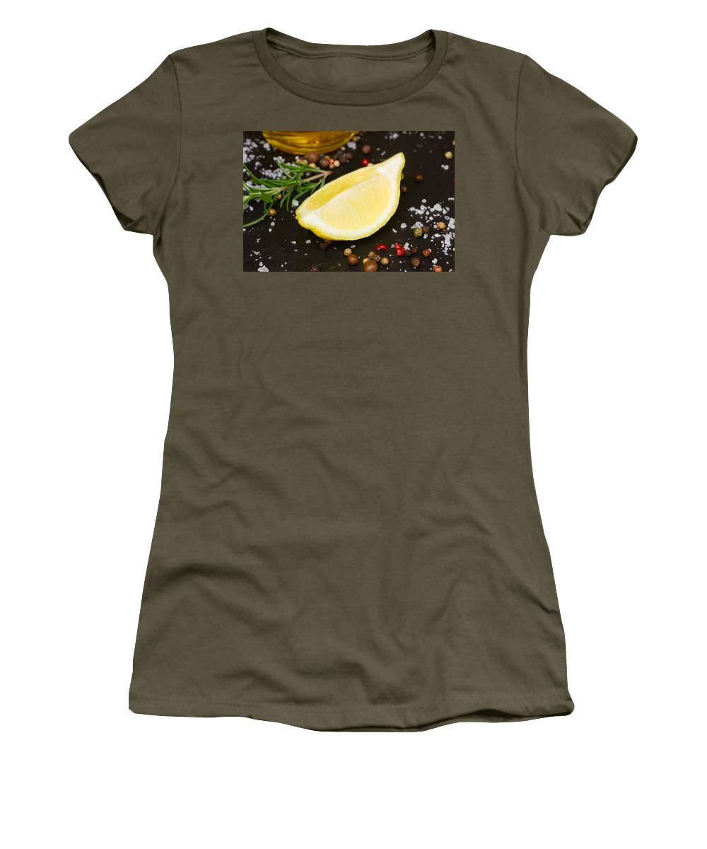 Spices Women's T-Shirt featuring the photograph Lemon With Spices by Anastasy Yarmolovich