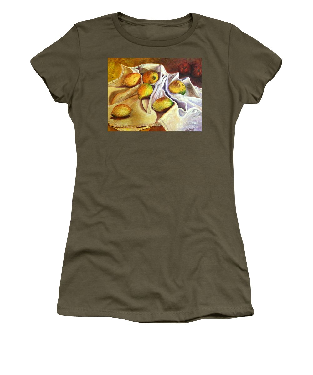 Still Life Women's T-Shirt (Athletic Fit) featuring the painting Lemons And Linen by Caroline Street