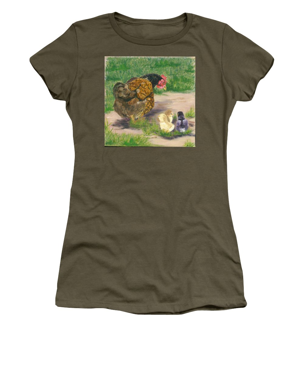 Cickens Chicks Hen Barnyard Bantams Farm Bucolic Nature Women's T-Shirt featuring the painting Lesson Time by Paula Emery