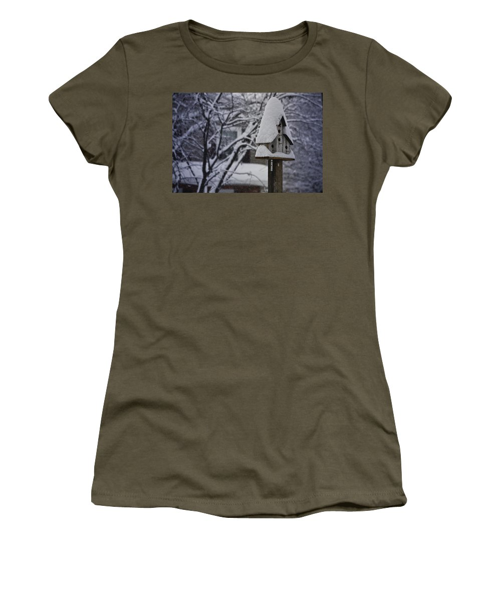 Snow Women's T-Shirt featuring the photograph Let It Snow by Teresa Mucha