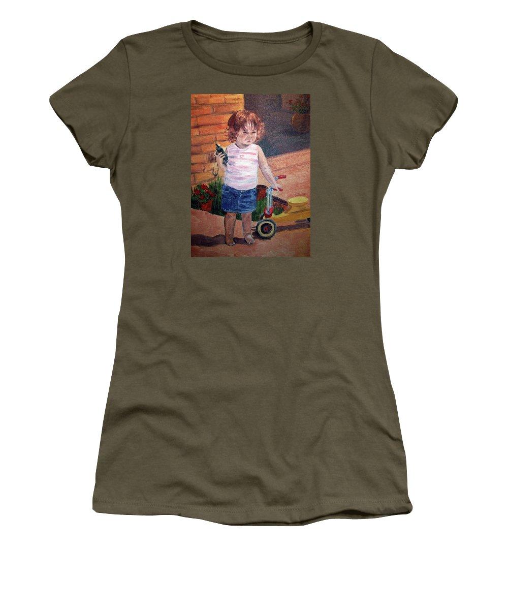 Girl Portrait Women's T-Shirt featuring the painting Let Me Call Papa by Irina Sztukowski