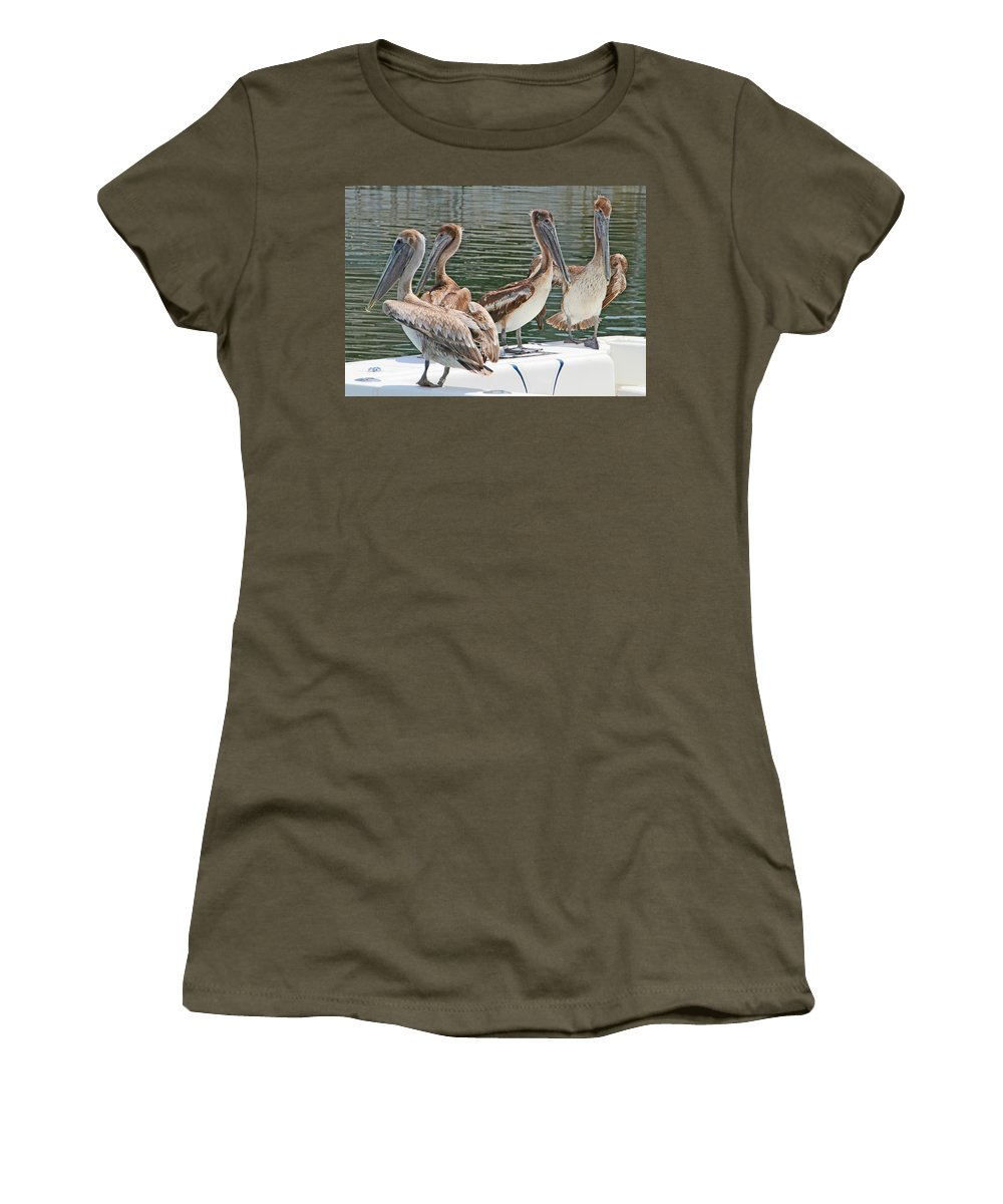 Pelican Women's T-Shirt (Athletic Fit) featuring the photograph Lets Go Fishing by Bob Slitzan
