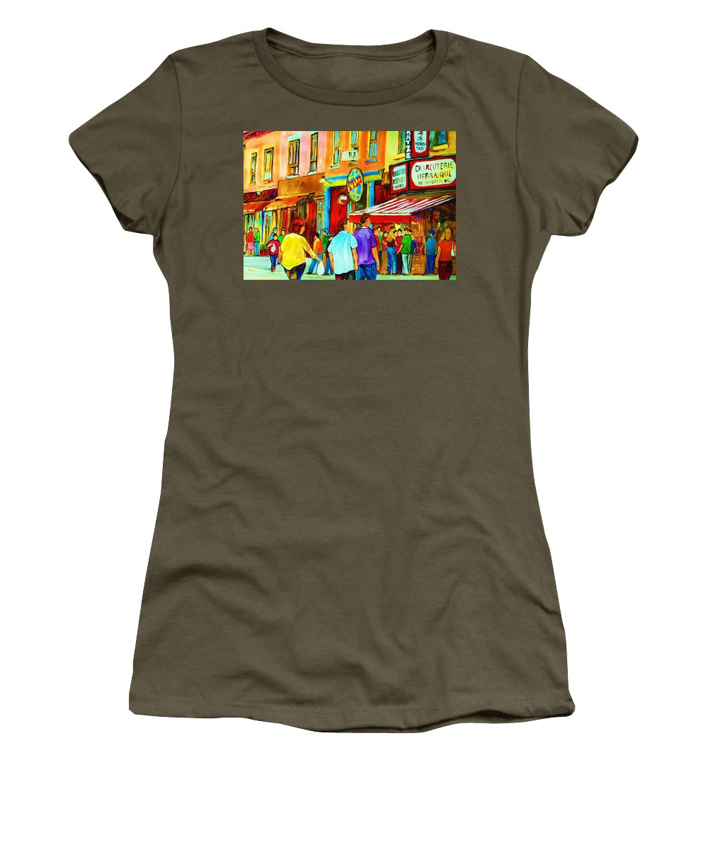 Cityscape Women's T-Shirt (Athletic Fit) featuring the painting Lets Meet For Lunch by Carole Spandau