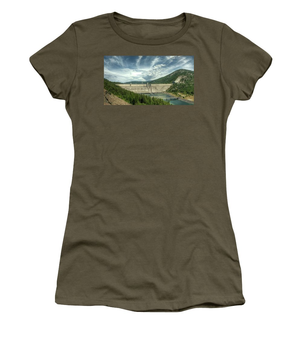 Landscape Women's T-Shirt (Athletic Fit) featuring the photograph Libby Dam by Constance Puttkemery