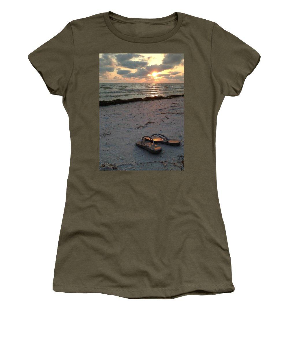 Lido Beach; Sandals Women's T-Shirt featuring the photograph Lido Beach Sandals by Cindy Rose