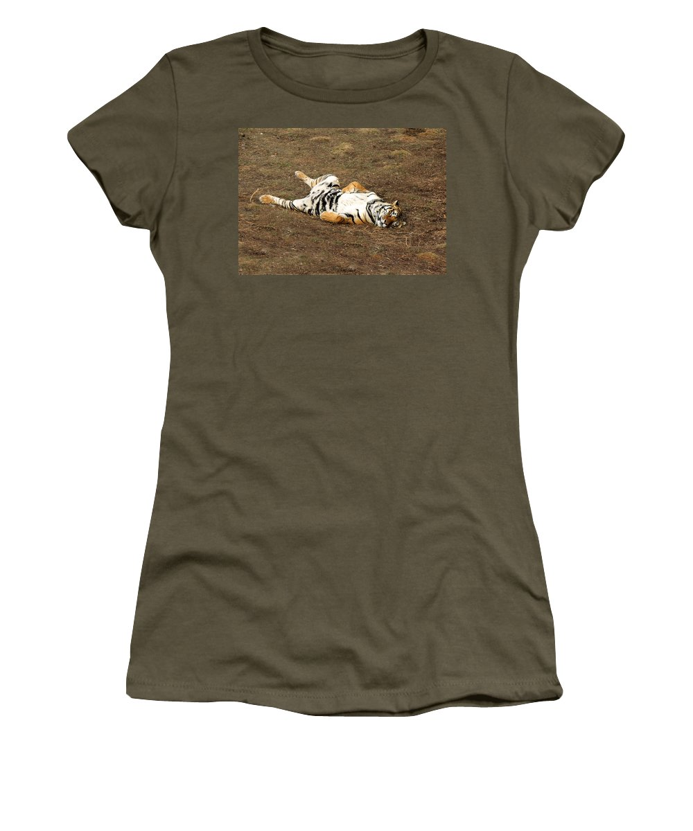 Tiger Women's T-Shirt (Athletic Fit) featuring the photograph Life Is Great by Lorraine Baum