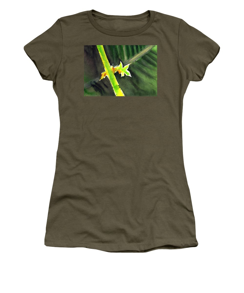 Water Color Women's T-Shirt (Athletic Fit) featuring the painting Light Branch by Anil Nene