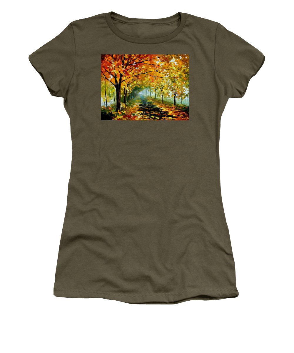 Afremov Women's T-Shirt featuring the painting Light In The Fog by Leonid Afremov