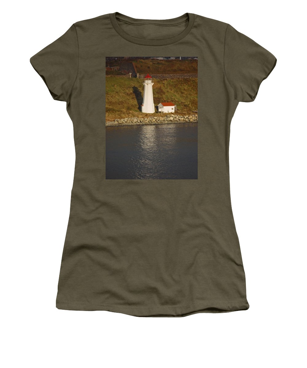 Lighthouse Women's T-Shirt (Athletic Fit) featuring the photograph Lighthouse In Maine by Heather Coen