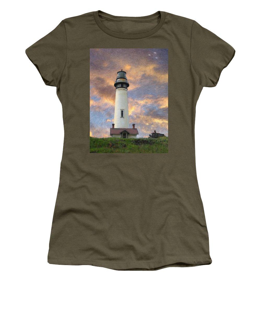 Lighthouse Art Women's T-Shirt featuring the digital art Lighthouse Visitors by Snake Jagger