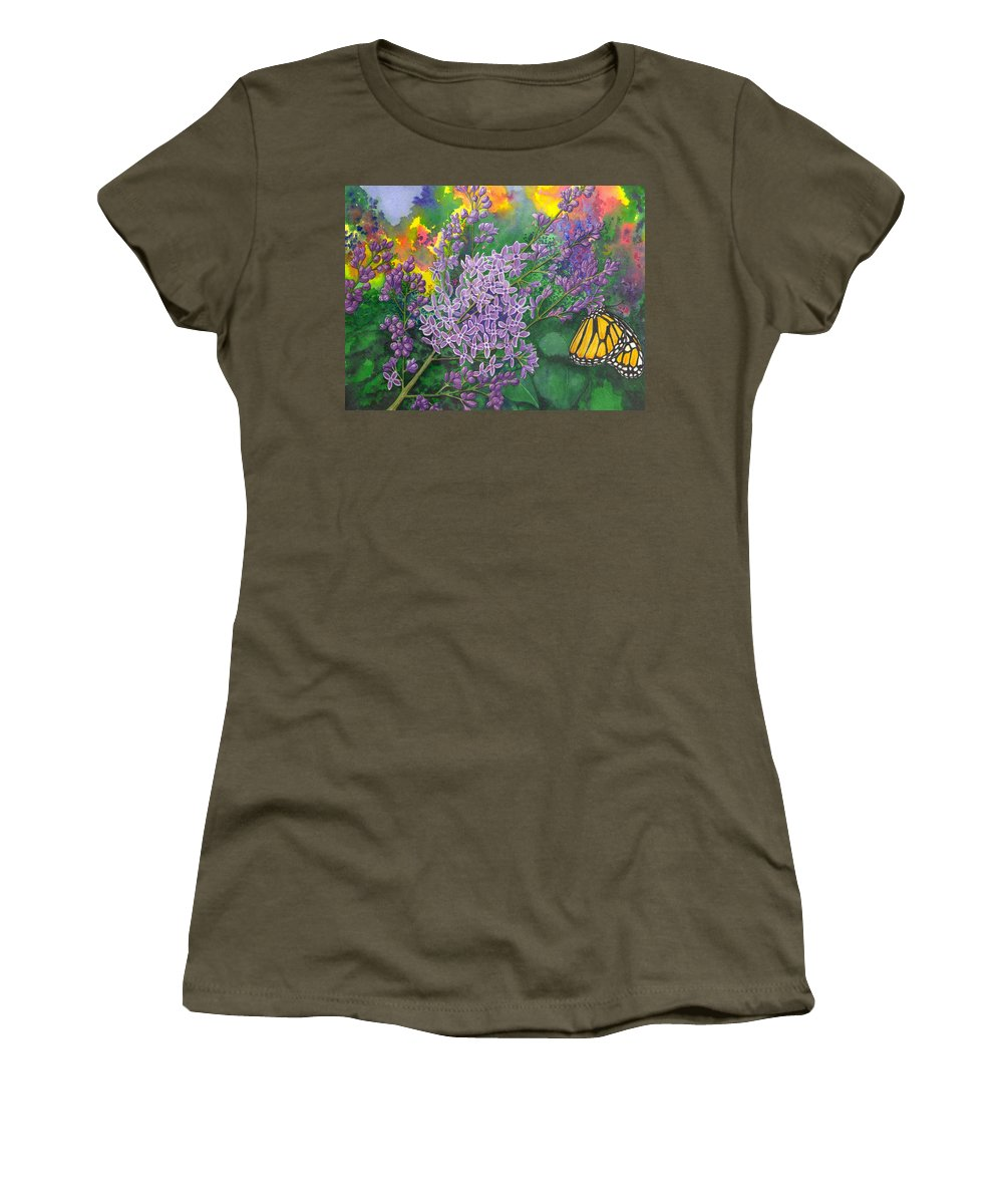 Lilac Women's T-Shirt (Athletic Fit) featuring the painting Lilac by Catherine G McElroy