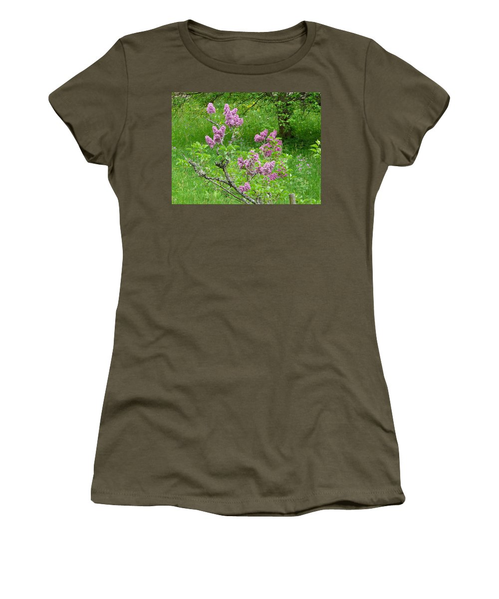 Flower Women's T-Shirt (Athletic Fit) featuring the photograph Lilac In The Spring Meadow by Valerie Ornstein