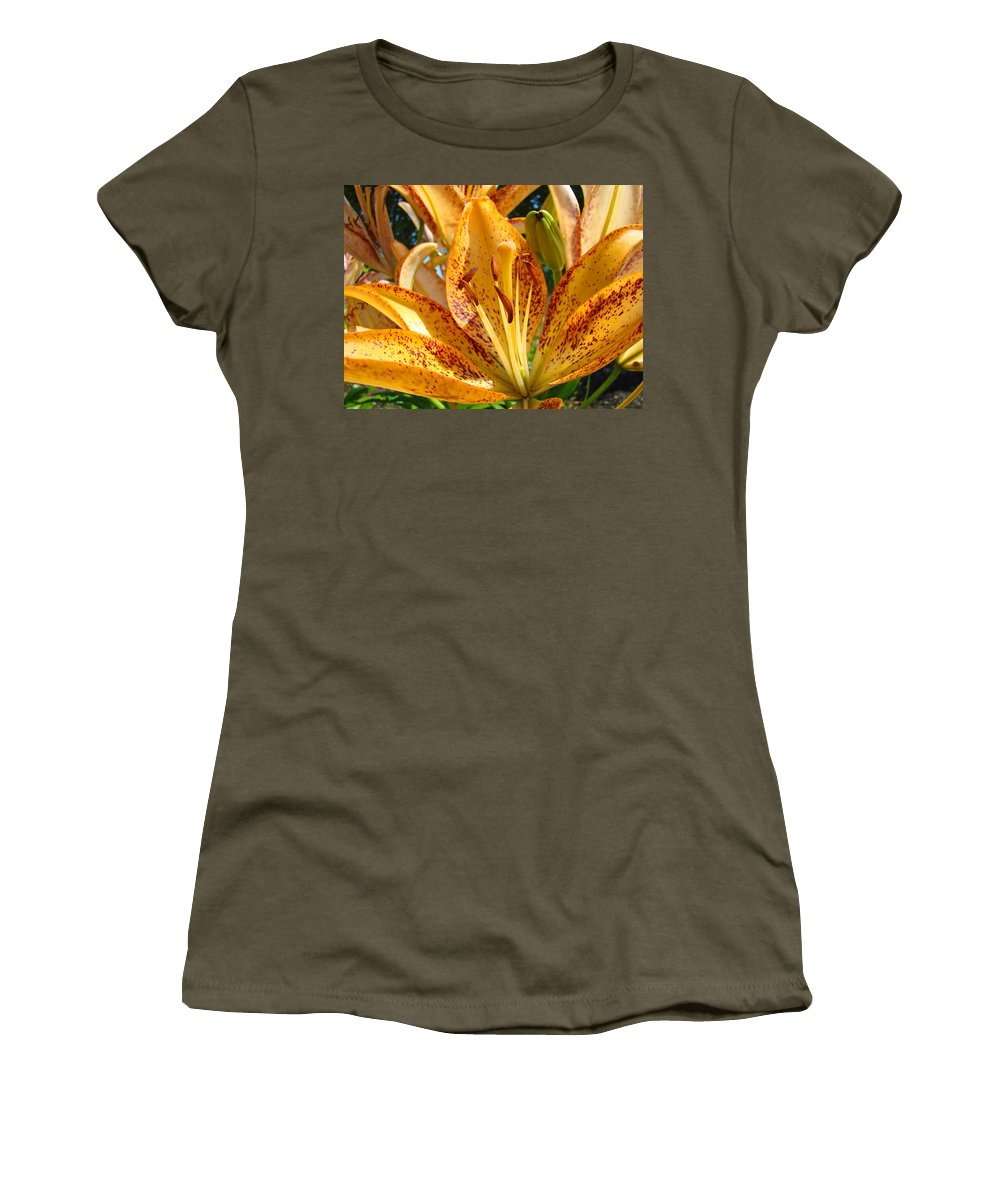 Lilies Women's T-Shirt featuring the photograph Lilies Art Prints Orange Lily Flowers 2 Gilcee Prints Baslee Troutman by Baslee Troutman