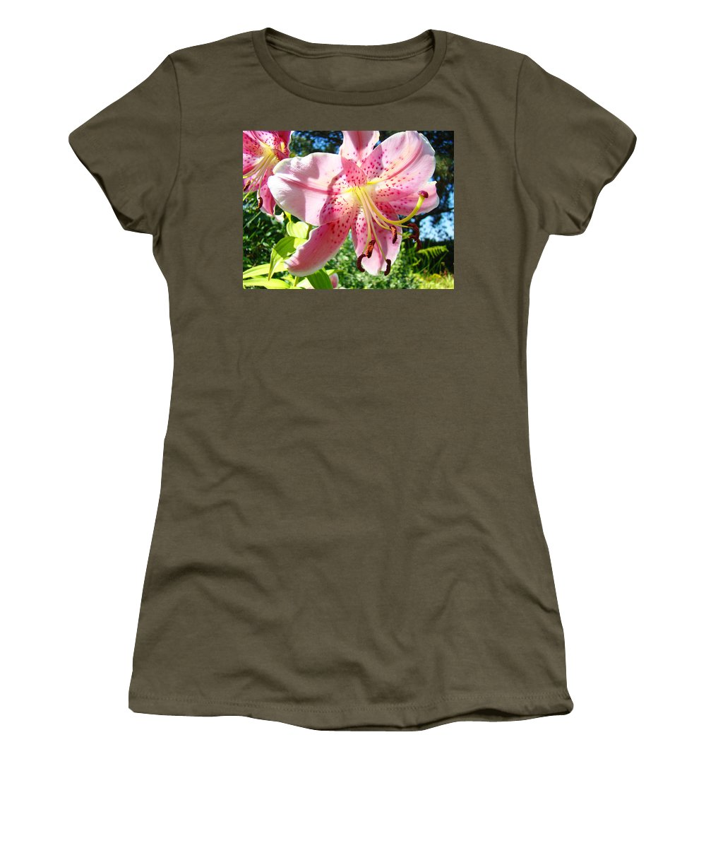 Lilies Women's T-Shirt featuring the photograph Lilies Art Prints Pink Lily Flowers 2 Giclee Prints Baslee Troutman by Baslee Troutman