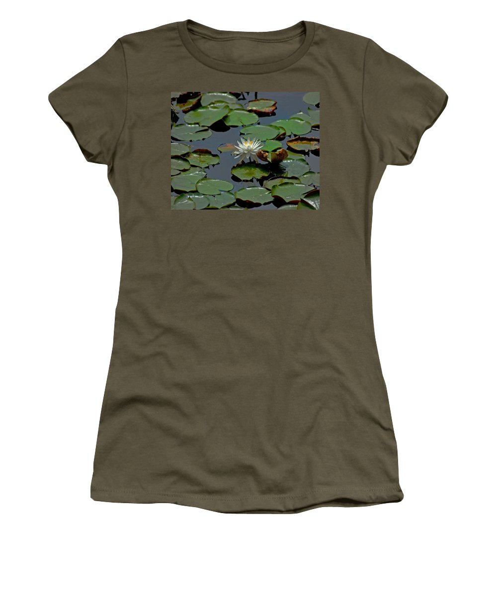 Sunflowers Women's T-Shirt (Athletic Fit) featuring the painting Lilly On The Pad by Michael Thomas