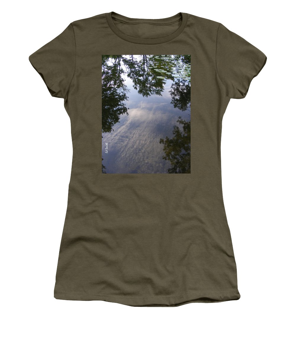 Lilly Pad Reflections Women's T-Shirt (Athletic Fit) featuring the photograph Lilly Pad Reflections by Ed Smith