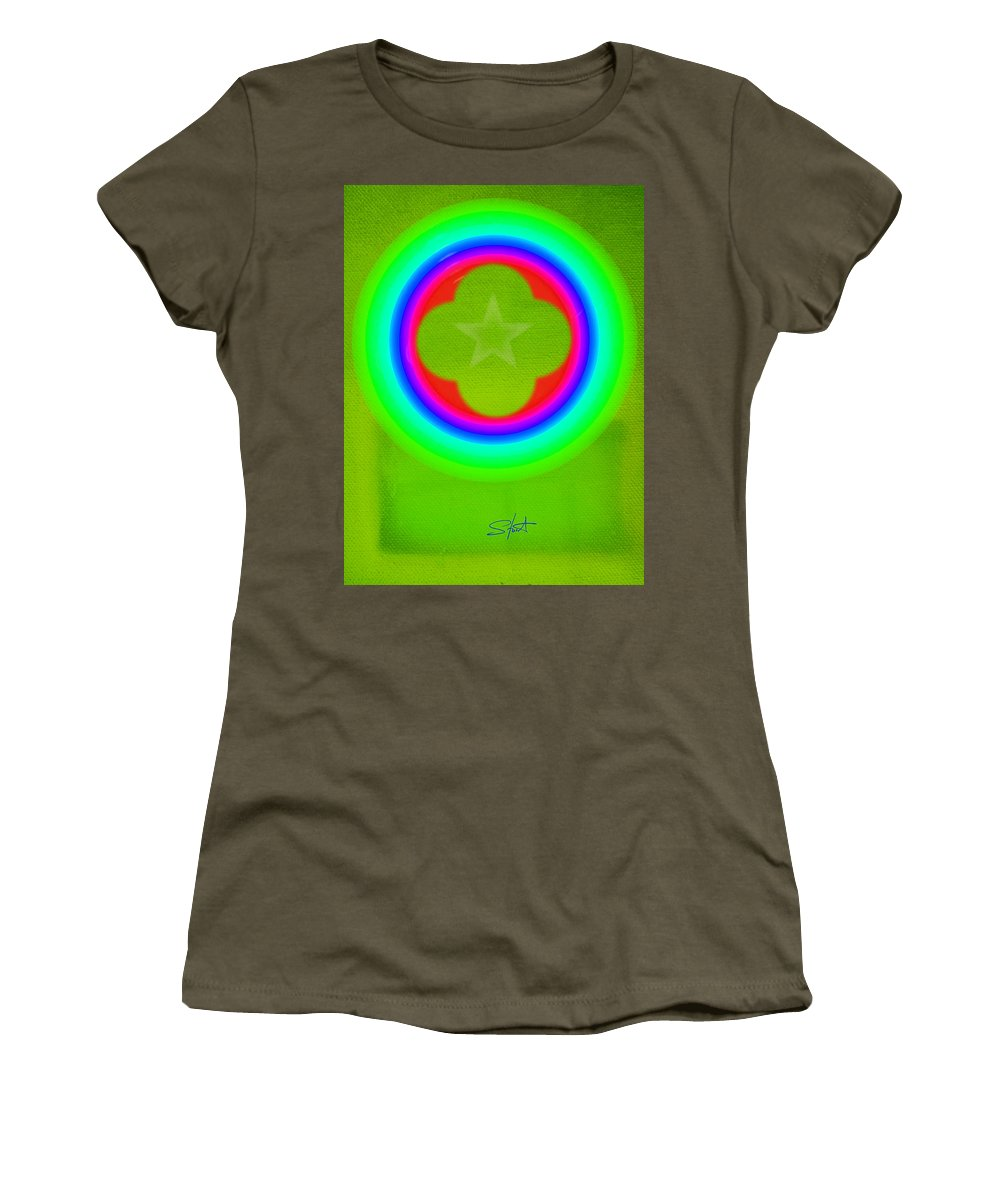 Abstract Women's T-Shirt featuring the painting Lime by Charles Stuart