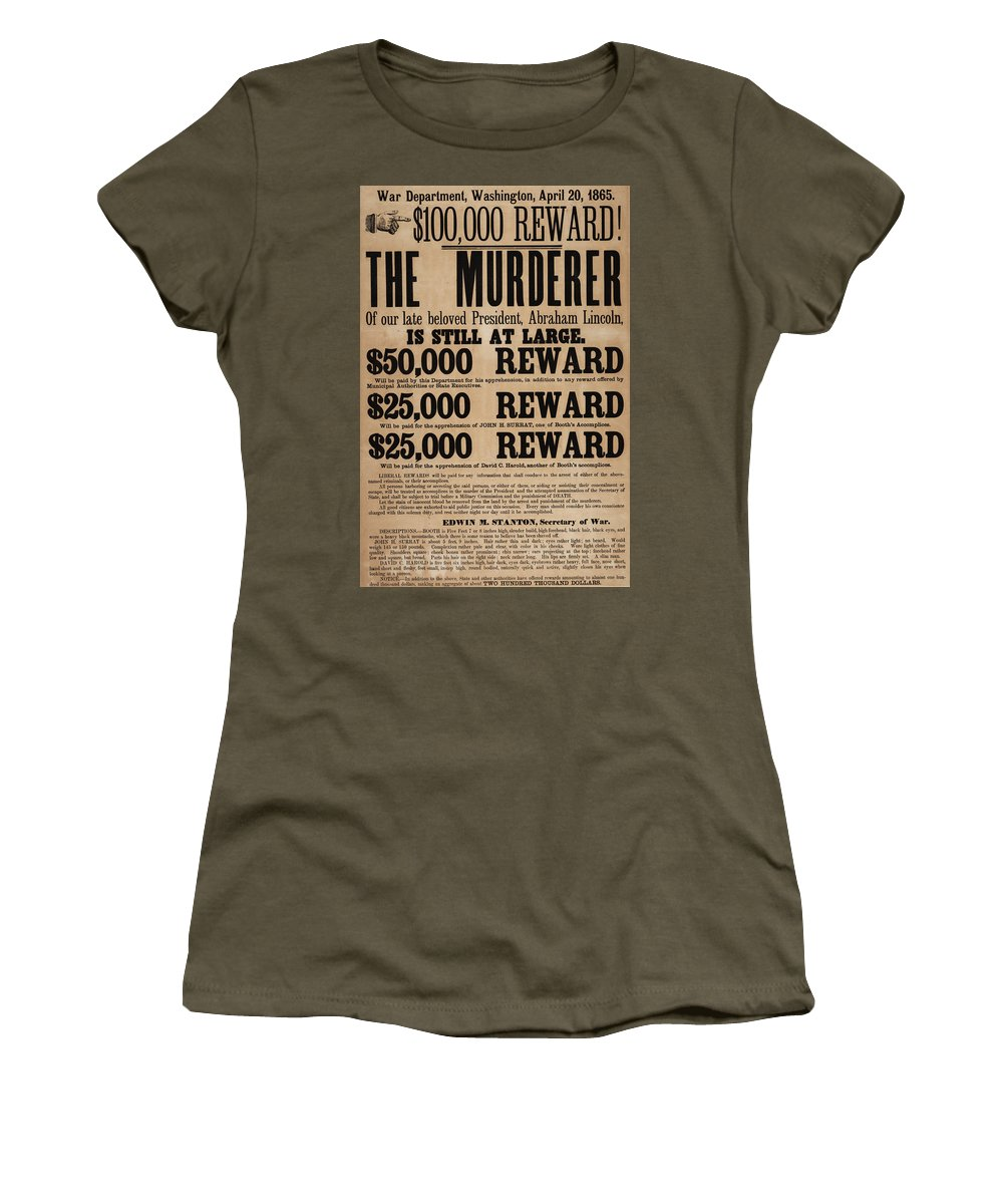 Wanted Poster Women's T-Shirt featuring the painting Lincoln Assassination Reward Poster by American School