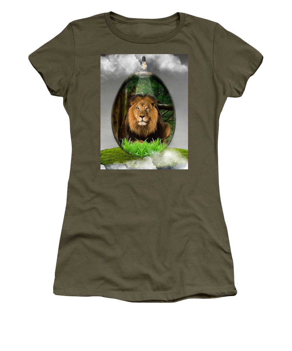 Lion Women's T-Shirt featuring the mixed media Lion Art by Marvin Blaine