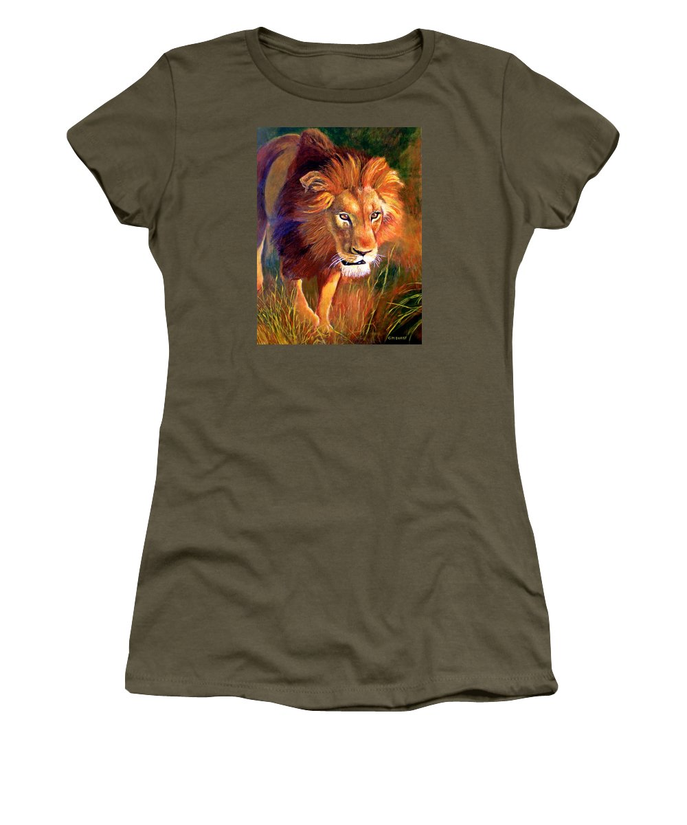 Lion Women's T-Shirt (Athletic Fit) featuring the painting Lion At Sunset by Michael Durst