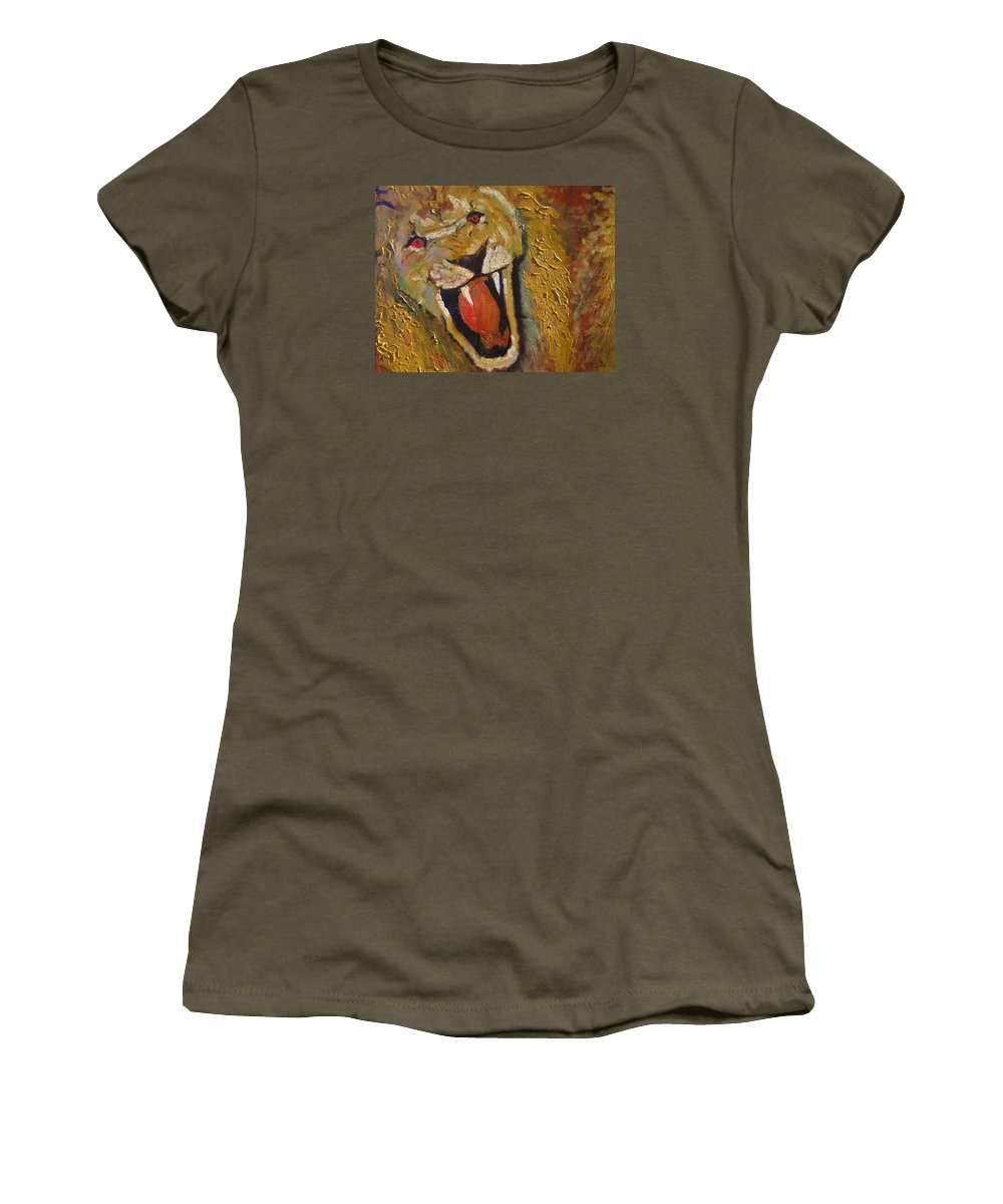Lion Women's T-Shirt featuring the painting Lion One by J Bauer