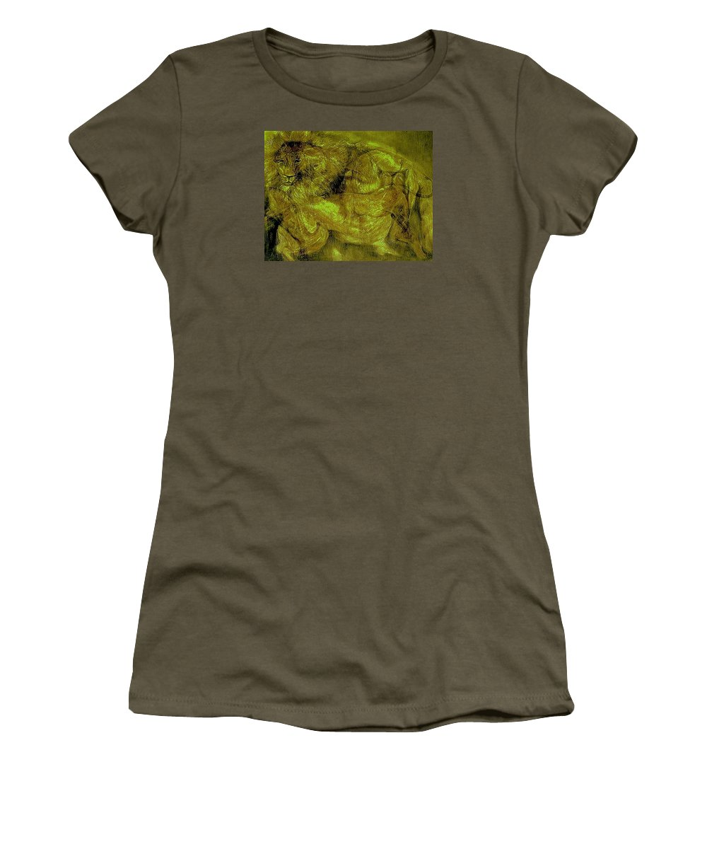 Animals Women's T-Shirt featuring the mixed media Lions-02 by Arlene Rabinowitz