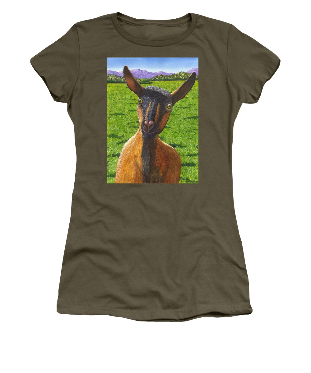 Goat Women's T-Shirt (Athletic Fit) featuring the painting Little Goat by Catherine G McElroy