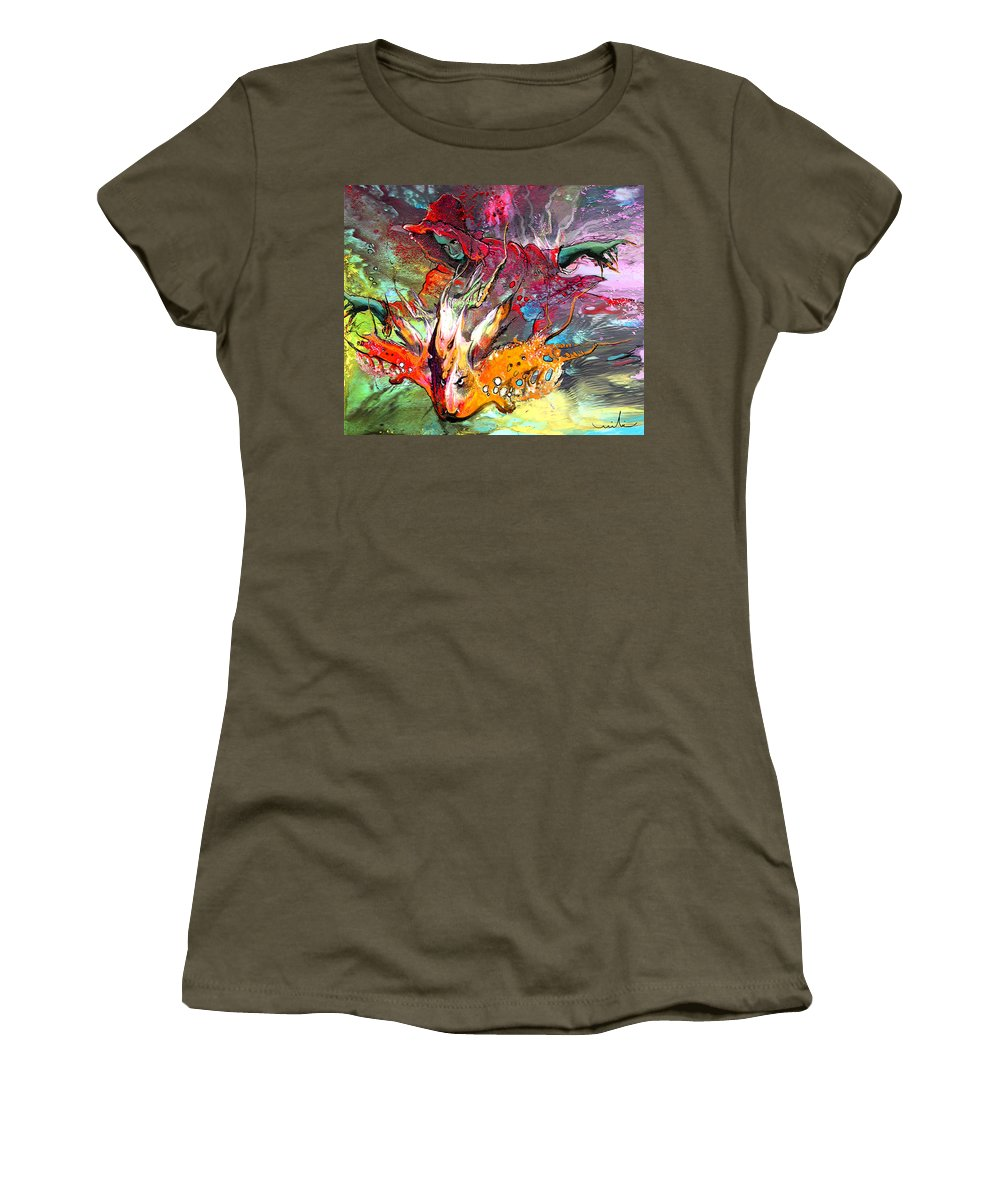 Miki Women's T-Shirt (Athletic Fit) featuring the painting Little Red Dragonmaker by Miki De Goodaboom