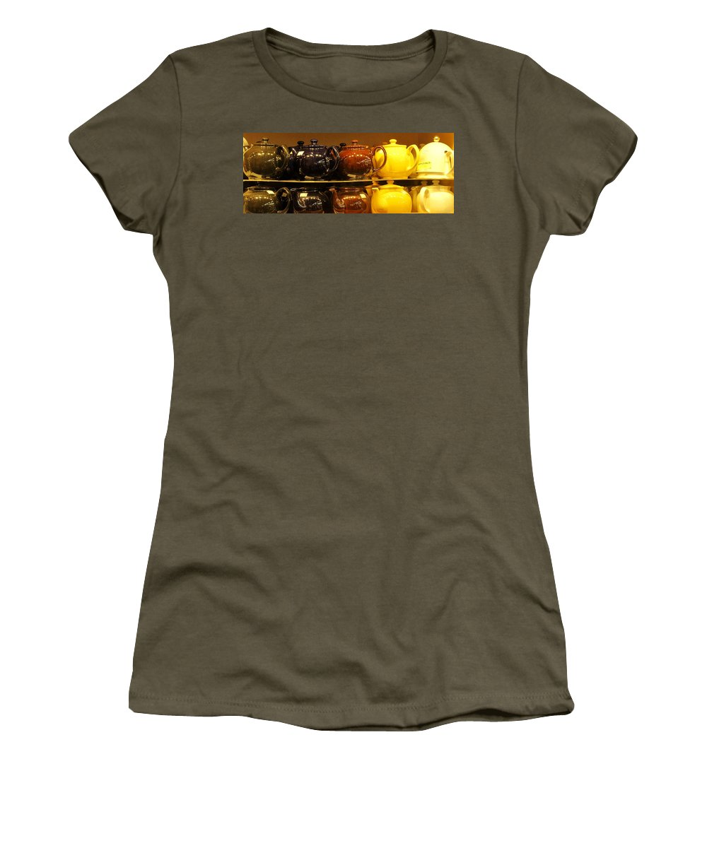 Teapots Women's T-Shirt (Athletic Fit) featuring the photograph Little Teapots by Ian MacDonald