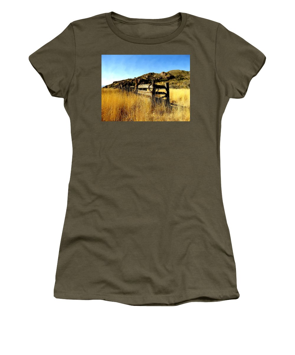 Southwestern Women's T-Shirt featuring the photograph Livery Fence At Dripping Springs by Kurt Van Wagner