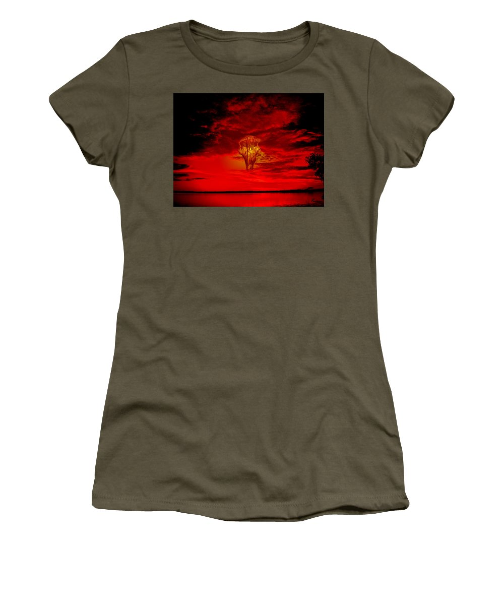 Skull Sky Red Dawn Buffalo Clouds Cloudy Nature Bison Water Skyline Waterscape Women's T-Shirt featuring the photograph Living Sky by Andrea Lawrence