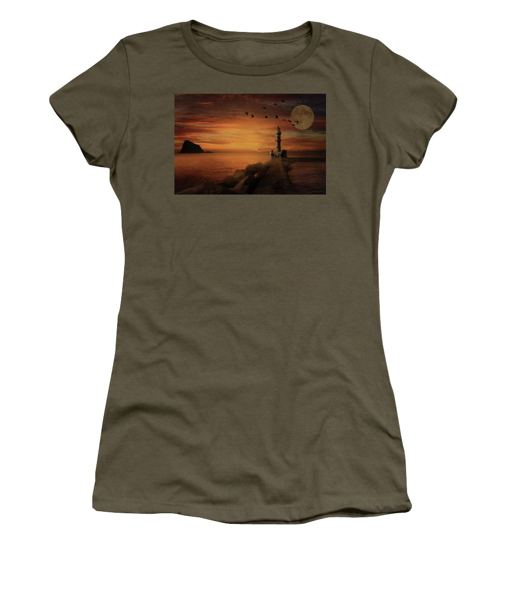 Light House Women's T-Shirt featuring the photograph Llight House By Moonlight by Andrea Kollo