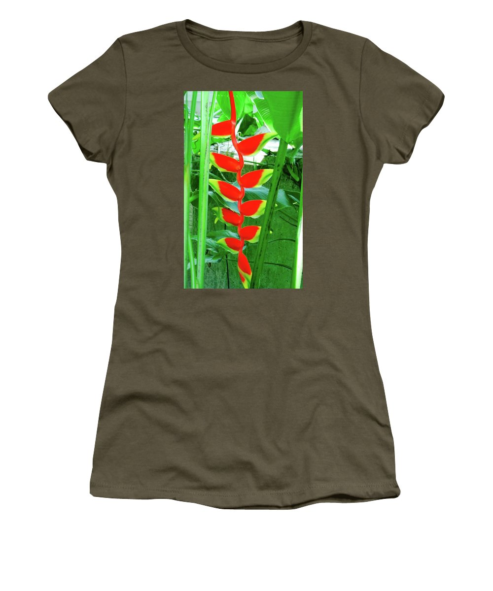 Lobester Claw Women's T-Shirt featuring the photograph Lobster Claw Heliconia by Miguel Munoz